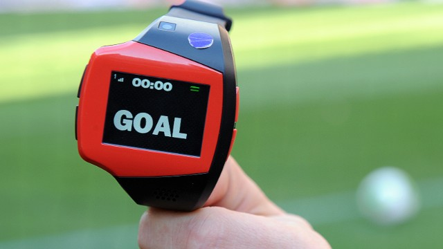 "The English Premier League will use a new ""Goal Decision System"" this season. A wrist watch will immediately tell the referee if a goal has been scored or not. The technology developed by Hawk-Eye Technologies uses 14 cameras strategiacally placed around the stadium to determine the exact path of the ball."