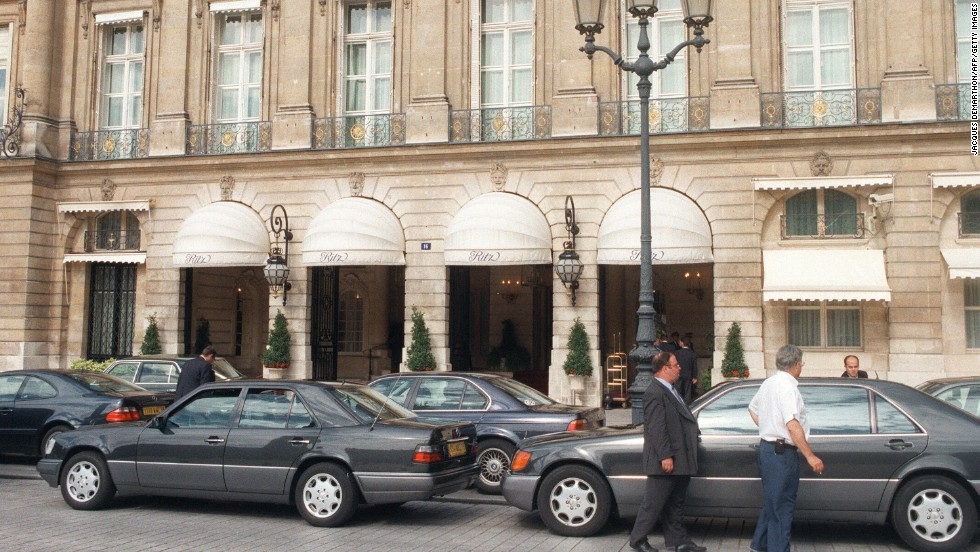 Limousines parked in front of the Ritz on August 31, 1997 -- shortly before Princess Diana and Dodi al-Fayed left the Paris hotel. The pair died in a high-speed crash after leaving the hotel.