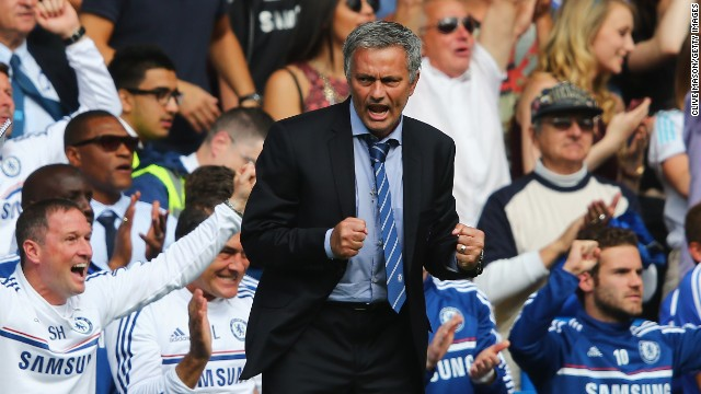 Jose Mourinho celebrates his side's second goal from Frank Lampard in the 2-0 win over Hull.