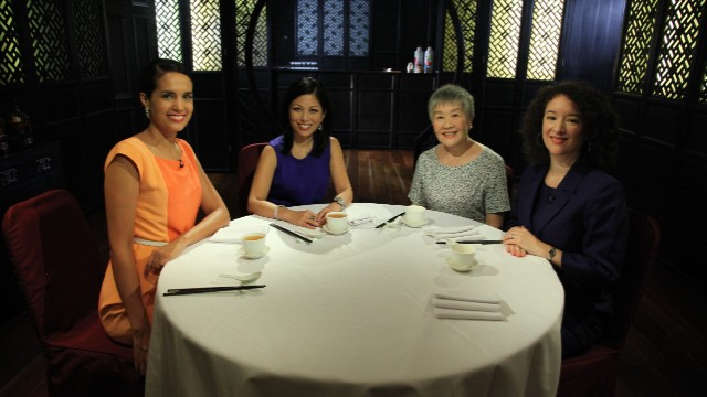 Guests (L-R) Joy Chen, Wu Qing, and Leta Hong Fincher discuss Chinese women's rights with host Kristie Lu Stout.