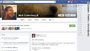 Shreateh said he contacted Facebook security about the vulnerability before using it to post to Mark Zuckerberg\'s page.