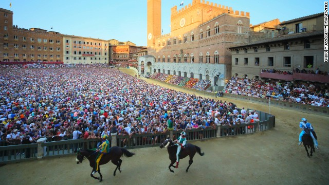 Each year, the pretty city of Siena in Tuscany is transformed into a medieval race track, with around 50,000 spectators cheering on 10 bareback riders. As the dust settles on this year's Palio di Siena, CNN takes a look at five weird and wonderful horse festivals from around the world.
