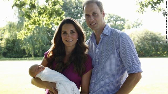 The couple are pictured with their newborn boy, Prince George Alexander Louis of Cambridge. The new parents released two family photographs taken by Michael Middleton, Catherine's father.