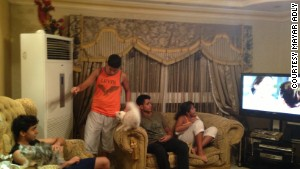 Mayar Adly\'s brother Seif, left, hangs out with cousins Nour, Omar and Hanna Hassan at the Adlys\' Cairo apartment.