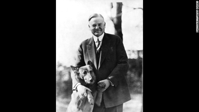 President Herbert Hoover poses with his dog, King Tut.