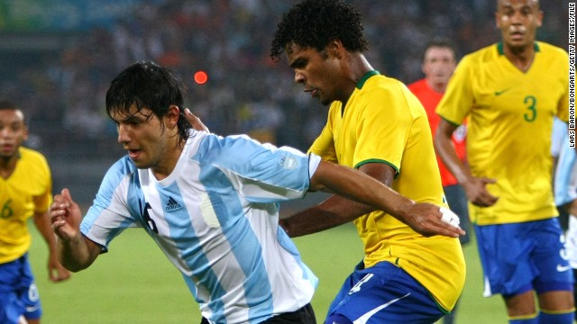 Breno, pictured here taking on Argentina's Sergio Aguero, was part of Brazil's squad for the 2008 Beijing Olympics. He and he teammates battled their way to a bronze medal in China.