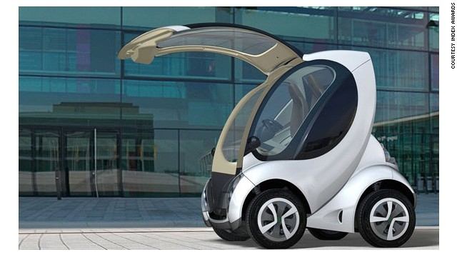 "The Hiriko is an electric car that ""folds"" into a vertical position, as seen in this image, to take up less room when it's stationary. It is expected to go into commercial production in 2014."