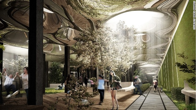 The Lowline is a proposal to create an underground park in the disused Williamsburg Trolley Terminal in New York. Plants and trees would be nourished by sunlight piped from the surface by fiber-optic cables.