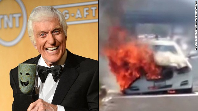 Dick Van Dyke, 87, and his wife, Arlene, were helped by good Samaritans to escape from their Jaguar, which caught fire on the Ventura Freeway in Calabasas, California.