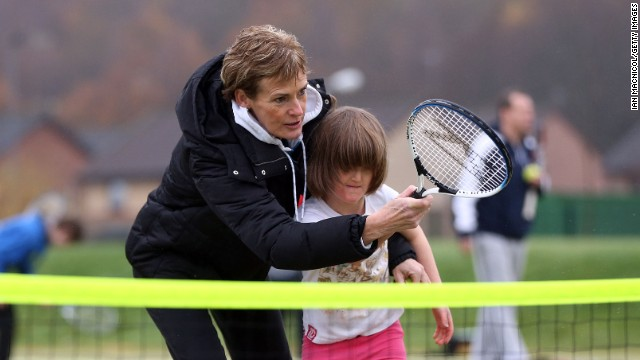 Judy, even when it's chilly, continues to coach kids as she tries to get more youngsters playing and boost the popularity of tennis in Britain.