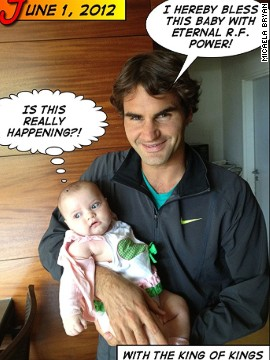 Roger Federer is not one of her followers, but he was more than happy to pose with the baby at the 2012 French Open.