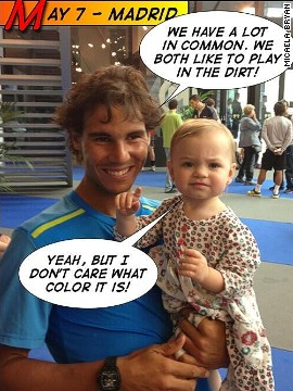 """Uncle Rafa"" also has a special place in Micaela's heart -- here she teases Spain's ""King of Clay"" over his dislike for the blue dirt used at the Madrid Masters tournament in 2012."
