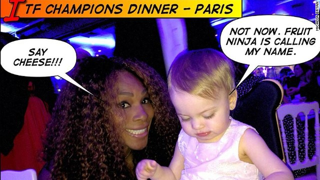 Now used to her celebrity friends, Micaela was seemingly more interested in her iPad when snapped with women's star Serena Williams at the ITF Champions dinner.