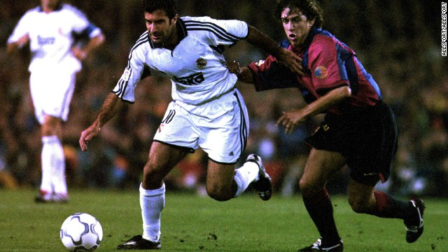 "In arguably his boldest transfer move, Real Madrid president Florentino Perez broke the world transfer record to sign Luis Figo from archrivals Barcelona in 2000. The capture of Figo ushered in the era of the ""Galacticos"" and was symptomatic of the high spending which has characterized both of Perez's terms as Real president."