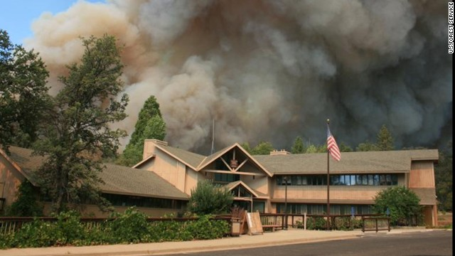 The Rim Fire burns close to Groveland Ranger Station near Yosemite National Park, California, on August 22.