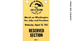 Tickets to the March on Washington\'s reserved section.