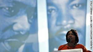 Bernice King speaks at the 2011 dedication ceremony for the Martin Luther King Jr. Memorial in Washington.\n