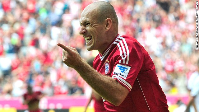 Arjen Robben, who scored in last season's Champions League final, celebrates his goal against Nuremberg.