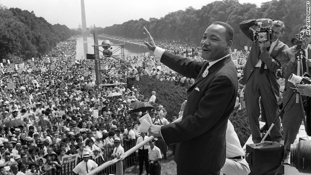"The Rev. Martin Luther King Jr. gives his ""I Have a Dream"" speech to a crowd in Washington during the March on Washington for Jobs and Freedom, also known as the Freedom March, on August 28, 1963. The speech is considered one of the most important in American history, and it helped rally support for the Civil Rights Act of 1964."