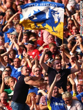 Cardiff's fans were celebrating after the team's first top-flight home game since 1962.