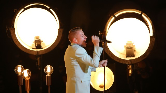 "After being introduced by NBA player Jason Collins and A$AP Rocky, Macklemore and Ryan Lewis performed their same-sex marriage equality song ""Same Love"" with Mary Lambert."