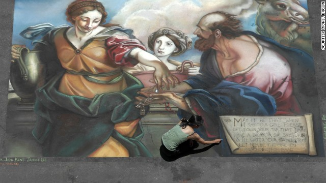 Artist Delphine Louie Anaya works on her recreation of a 17th-century piece by Carlo Maratti in Santa Barbara, California.