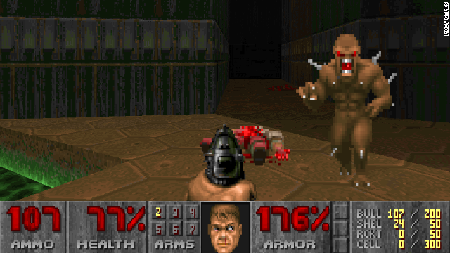"""Doom"" was the first massively popular first-person shooter game. Seeing violence from a shooter's viewpoint was new, and it didn't help that the shooters in the Columbine High School tragedy played it."