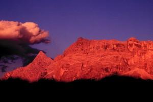 El arrebol alpino, Italia