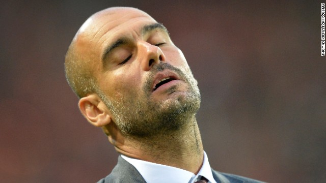 Bayern Munich coach Pep Guardiola shows his frustration as his side were held 1-1 at SC Frieburg.