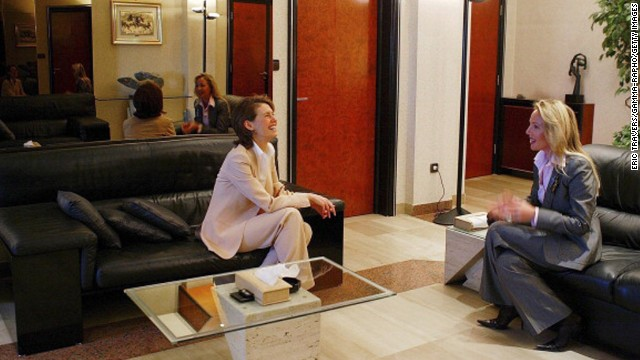 Duchess Camilla speaks with Asma al-Assad in Damascus, Syria, on March 22, 2004.