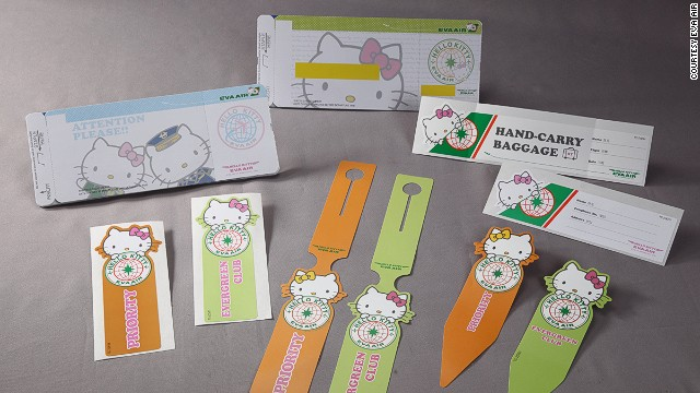 The Hello Kitty air experience also includes possibly the world's cutest boarding passes and baggage stickers.