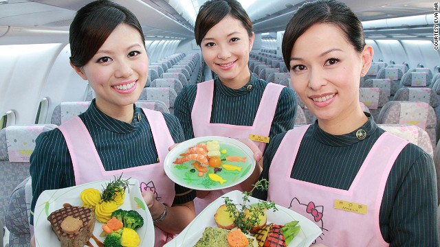 As seen in Asia: Hello Kitty meals to go with the Hello Kitty interiors.