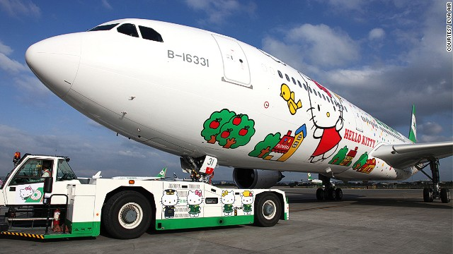 "This is one of EVA Air's planes that flies Asia routes. Called ""Magic Stars Hello Kitty,"" this flies from Taipei to various Asian hubs including Hong Kong and Japan."