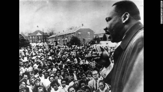King addresses civil rights marchers in Selma in April 1965.
