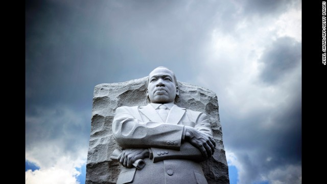 "The statue of King is pictured at a memorial on August 24 in Washington, as thousands of people gathered to commemorate the 50th anniversary of The March on Washington for Jobs and Freedom, where King gave his ""I Have a Dream"" speech, his stirring vision of a United States free of inequality and prejudice. The speech telecast live to a nation undergoing a tumultuous decade of soul-searching, crisis and change."