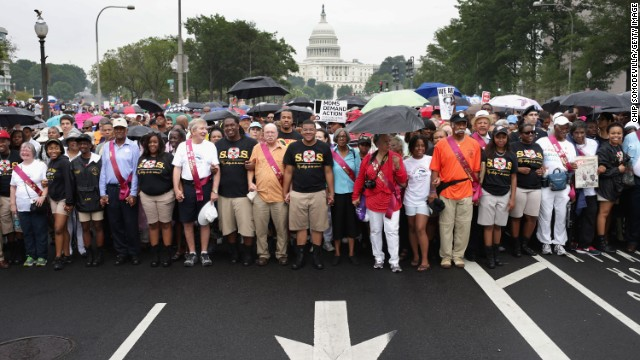 People march from Capitol Hill to the Lincoln Memorial on August 28.
