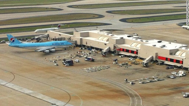 A Korean Air plane arrives Wednesday at Hartsfield-Jackson Atlanta International Airport.