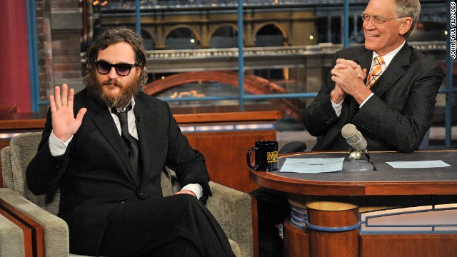 "Watching Joaquin Phoenix appear on ""Letterman"" in 2009 was like watching a train wreck -- it was so hard to watch, but you just couldn't look away. Phoenix had drastically altered his appearance and behaved strangely, as Letterman tried to figure out how to navigate the puzzle before him. It was all an act, though, and Phoenix returned to the show in 2010 to apologize."