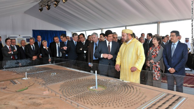 Moroccan King Mohammed VI attends the official launch of the construction of a 160 MW solar power plant near the city of Ouarzazate on May 10.