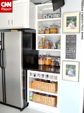 <a href='http://ireport.cnn.com/docs/DOC-1021470'>Tracie Stoll'</a>s pantry uses open shelves to turn staples into decor.