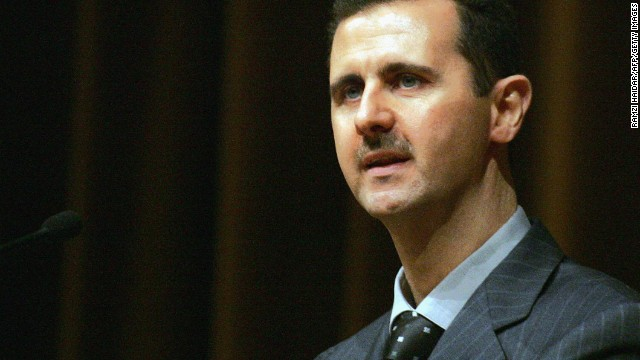 Al-Assad addresses the ruling Baath Party's 10th congress in Damascus on June 6, 2005.