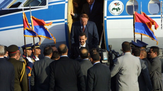 Al-Assad arrives at the airport in Sharm el-Sheikh, Egypt, on February 28, 2003.