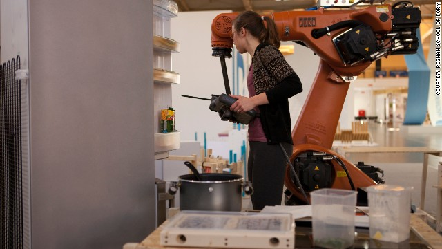 CNN's Blueprint team met a group of students from Poznan's School of Form who have invented 'KUKA', a robot that can make 3D cookies in any shape you want.