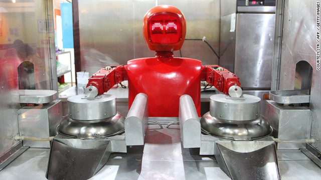 This robot is busy cooking up noodles at the world's first robot restaurant in Harbin, northeast China. Twenty robots perform a variety of chores, from ushering in guests to waiting tables and cooking dishes.