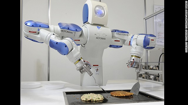 This robochef by Yaskawa Electric has spatulas for arms and can prepare, cook and foil wrap an 'okonomiyaki', a traditional Japanese pancake.