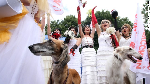 Belorussian brides take part in an annual Bride Parade in central Minsk.