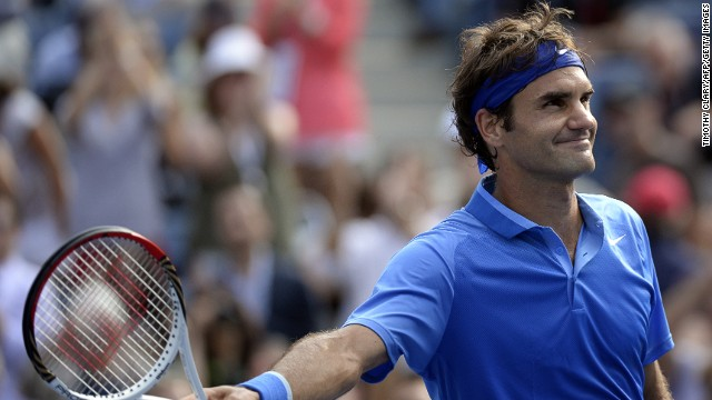 Roger Federer celebrates his victory in the second round of the U.S. Open at Flushing Meadows.