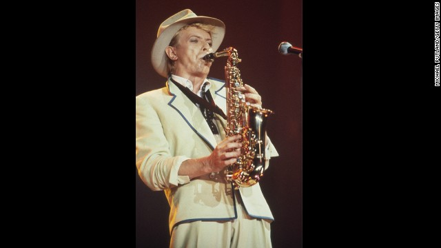 David Bowie, seen here performing onstage in 1983, learned to<a href='http://www.biography.com/people/david-bowie-9222045' target='_blank'> play the saxophone when he was 13</a>.