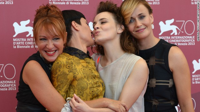 "From left, actresses Nicoletta Maragno, Roberta Da Soller, Maria Roveran and Lucia Mascino pose for the photo call of ""Piccola Patria"" on August 30."