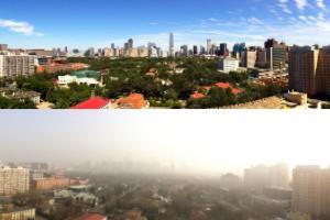 Contrastes de Beijing en un día limpio
